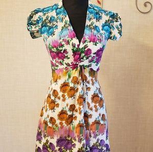 Beautiful Floral Print Silk Dress Size 2